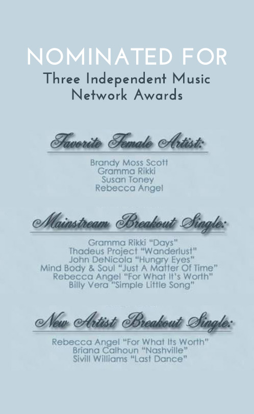 Rebecca Angel nominated for three Independent Music Network Awards